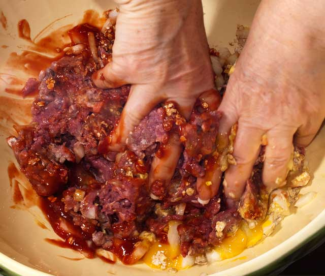 Mixing Meat Loaf Ingredients