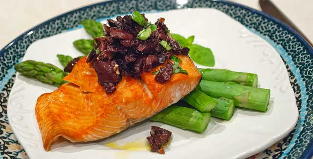 Salmon with Kalamata Olive Relish