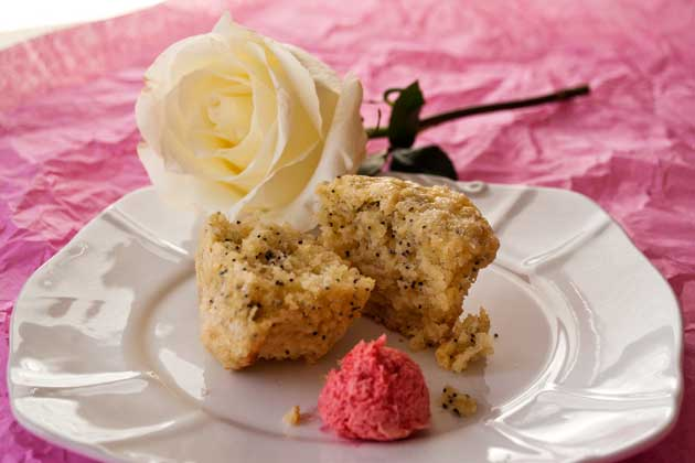 Lemon Poppy Seed Muffin with Raspberry Butter