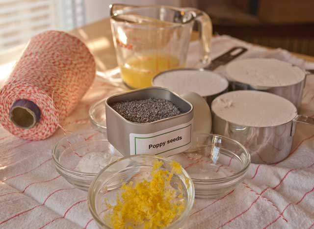 ingredients for poppy seed muffin