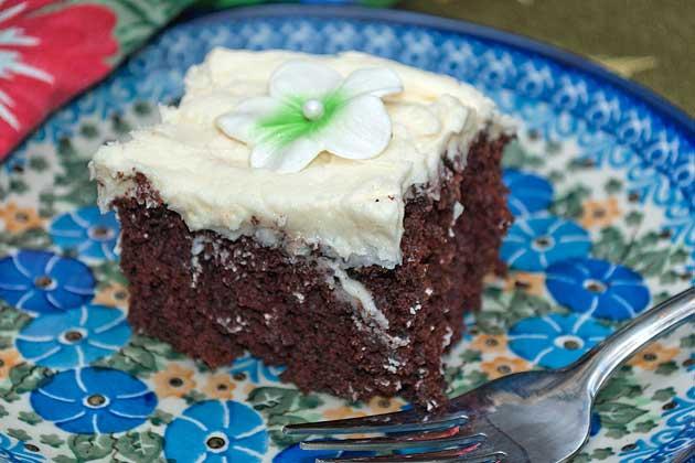 Plated wacky cake