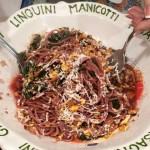 Spaghetti with kale and walnuts