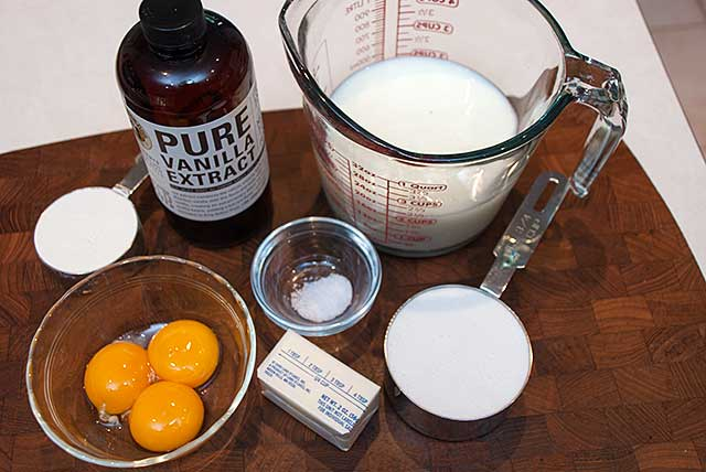Vanilla pudding ingredients