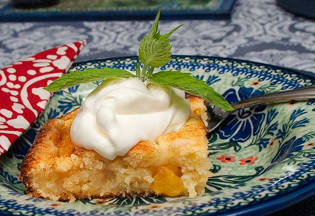 plated peach kuchen