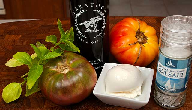 heirloom tomato and burrato cheese salad ingredients