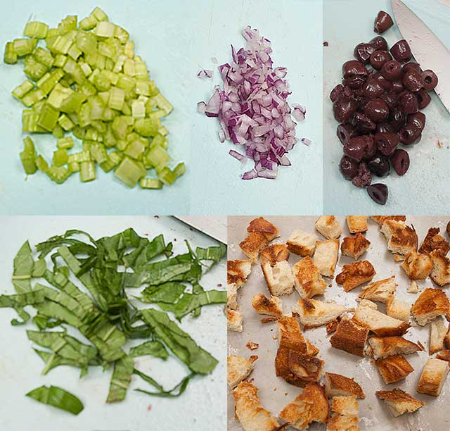 Chopped ingredients for Italian Bread Salad