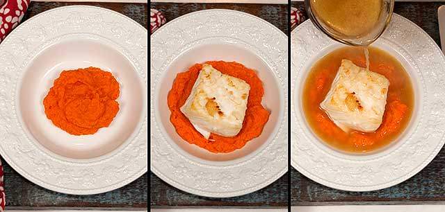 Sautéed halibut recipe with carrot puree
