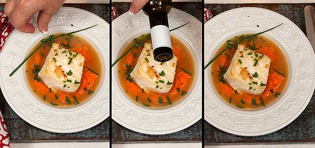 Plated sautéed halibut recipe with carrot puree