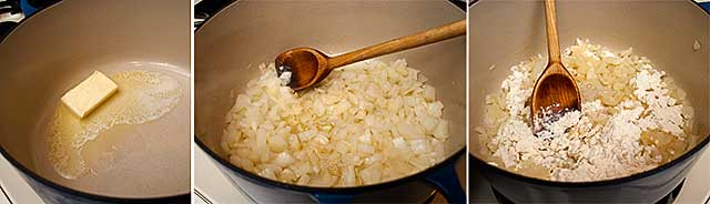 Cooking onions for corn chowder