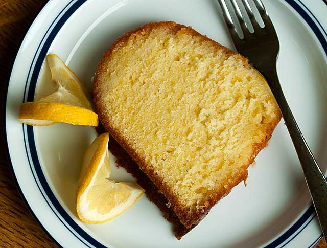 Slice of Lemon Pound Cake with Lemon Glazed