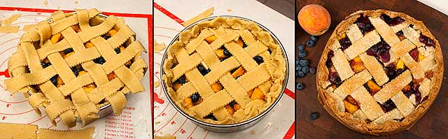 Making a lattice cornmeal pie crust