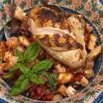 Italian bread salad with grilled chicken