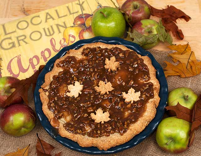 Directions for making the Apple Praline pie can be found on Food.com.