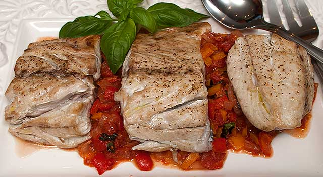Bluefish with piperade