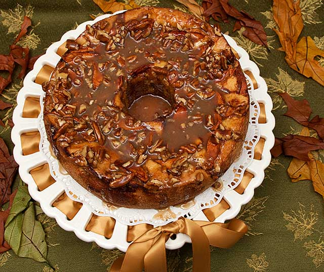 Apple Cake with Maple praline glaze