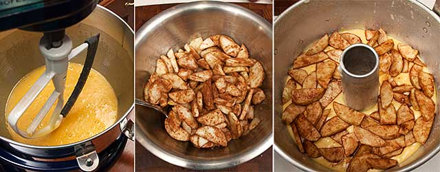 Steps for assembling the apple cake with maple praline glaze