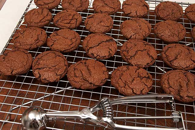 Chocolate hazelnut cookies and cookie scoop