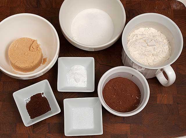 Dry ingredients for chocolate hazelnut cookies