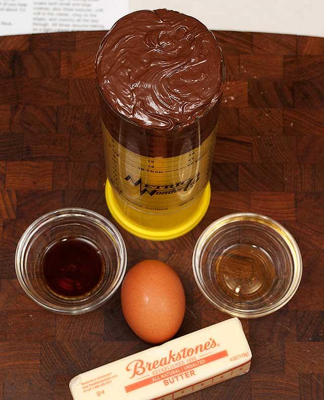 Wet ingredients for chocolate hazelnut cookies