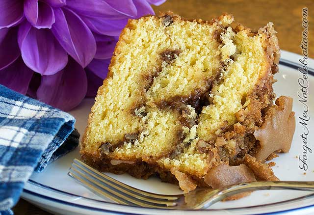 A slice of Sour Cream Pecan Coffee Cake
