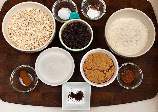 Dry ingredients for pumpkin oatmeal cookies