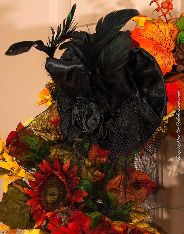 Witch hat on the Halloween wreath