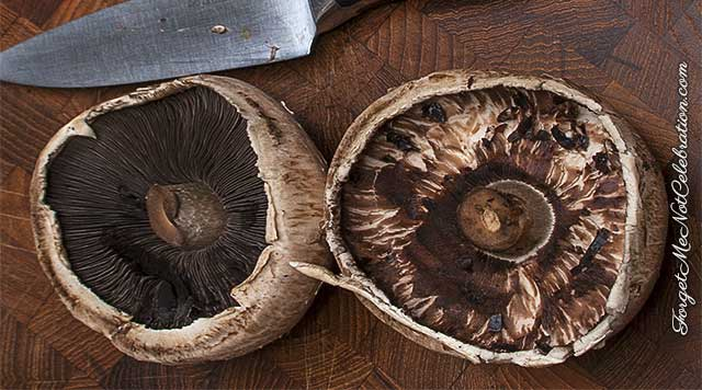 Removing the gills from portobello mushrooms