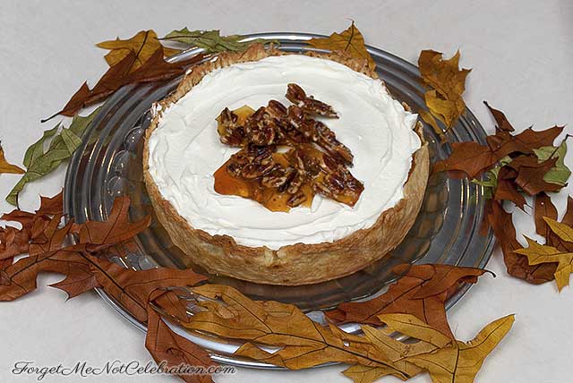 Pumpkin pie with pecan brittle