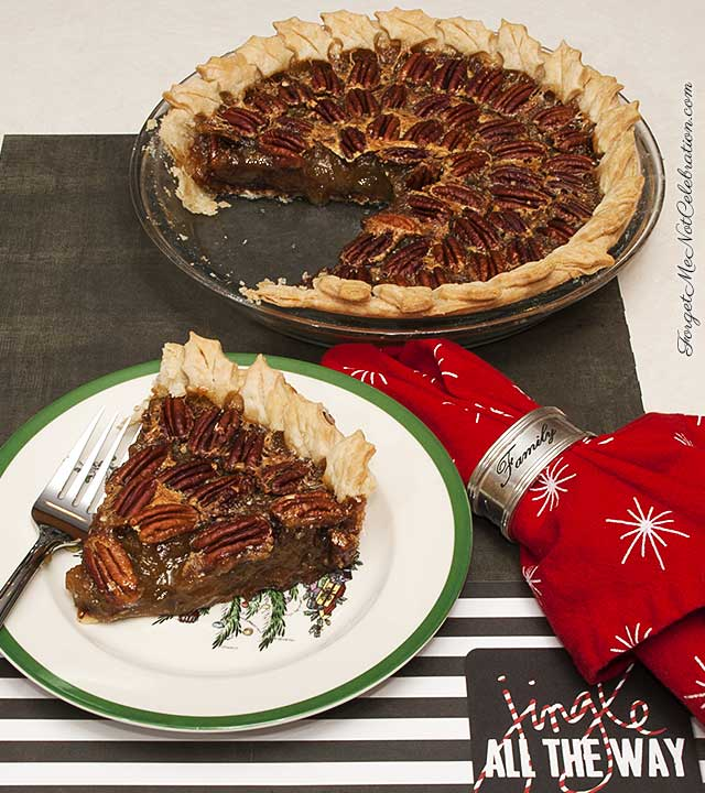 Slice of Black Bottom Bourbon Pecan Pie