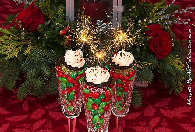 Mini gingerbread Guinness cupcakes with sparklers