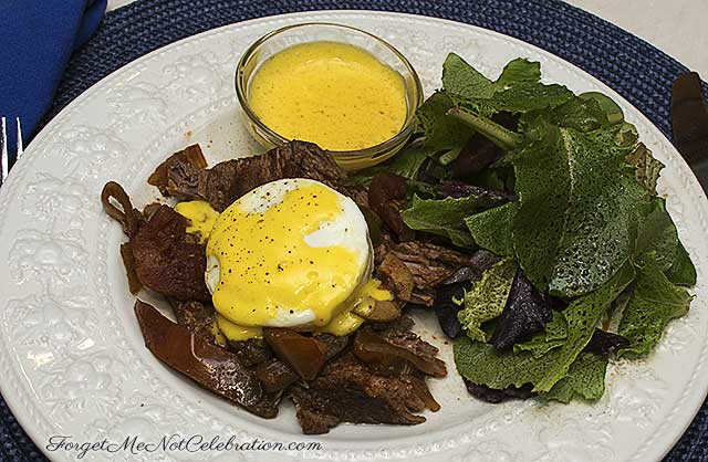 Poached egg and cuban pot roast sandwich