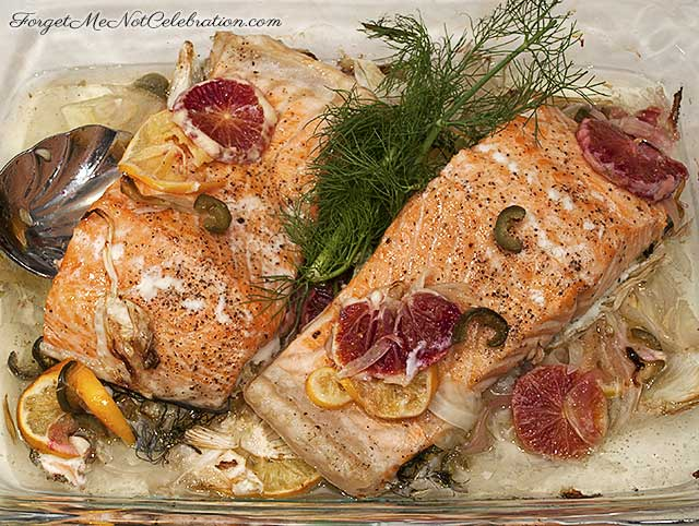 Slow Roasted Salmon with Fennel, Citrus and Chiles