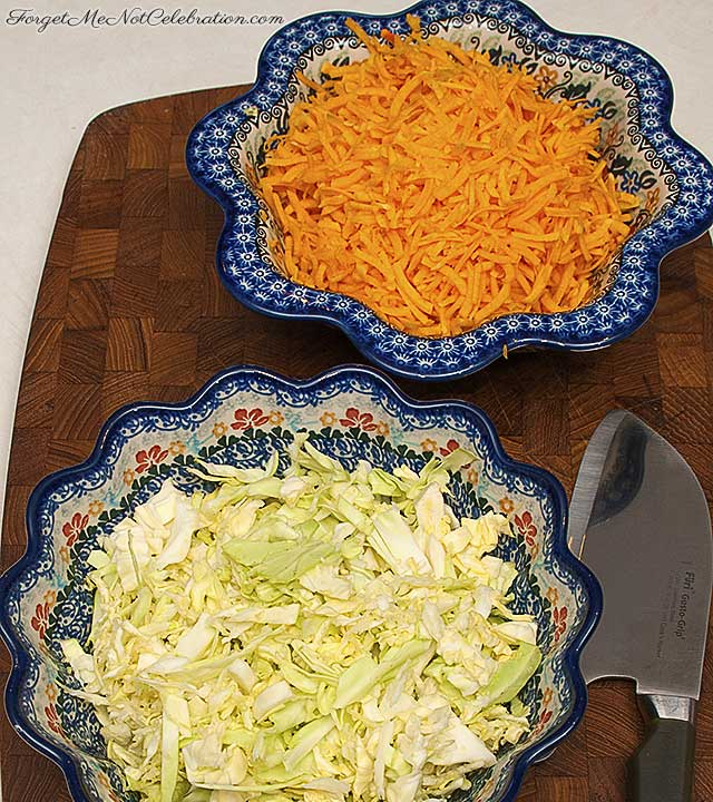 Shredded cabbage and butternut squash