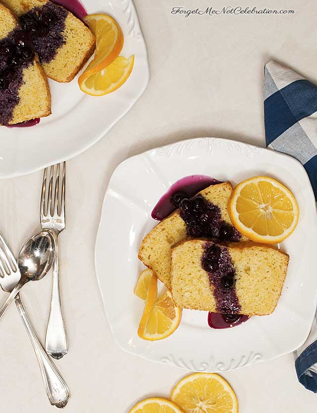 Lemon Cornmeal Pound Cake with Blueberry Compote