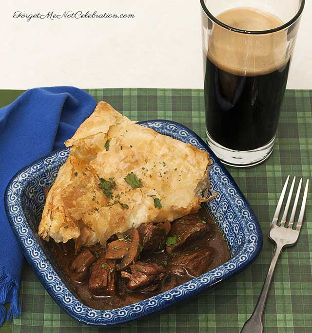 Single serving of Guinness beef stew