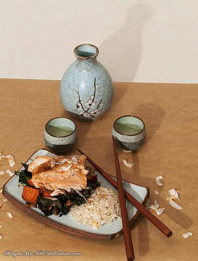 Roasted Salmon with Coconut Kale and Coconut Rice