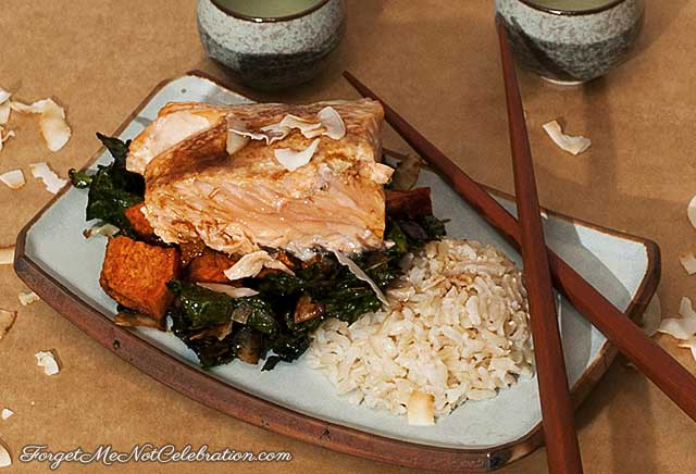 Roasted Salmon with Coconut Kale and Rice