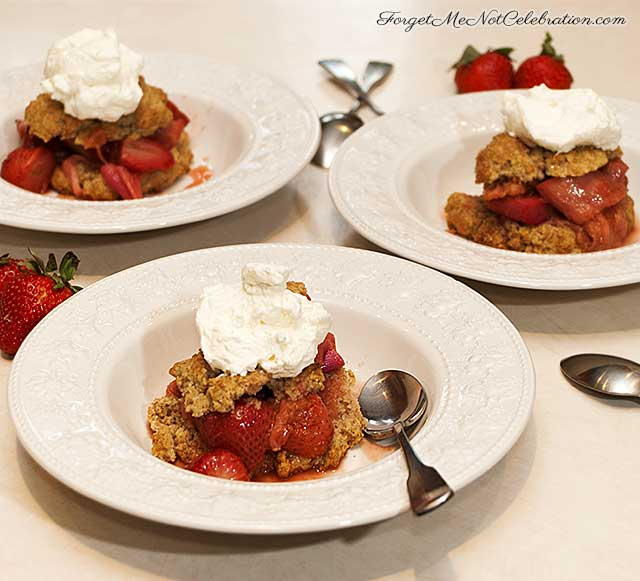 roasted strawberry and rhubarb rye shortcakes
