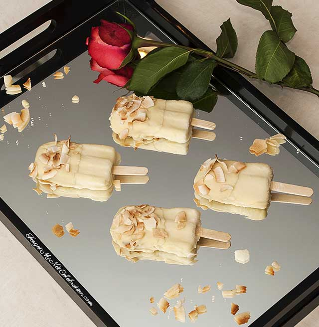 Pina Colada Popsicles dipped in white chocolate