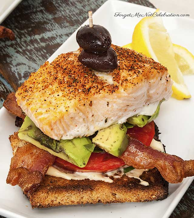 Open-faced salmon and avocado BLT
