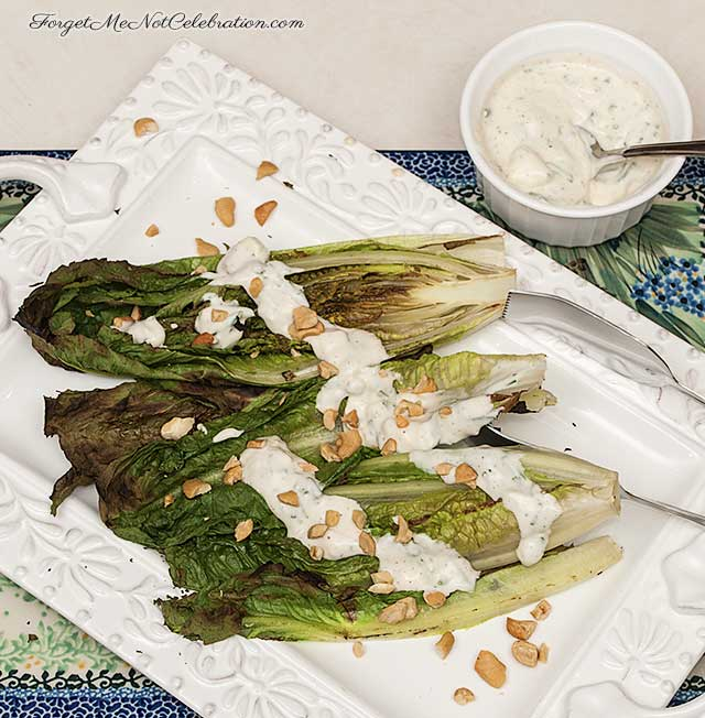 grilled romaine with blue cheese dressing and cashews