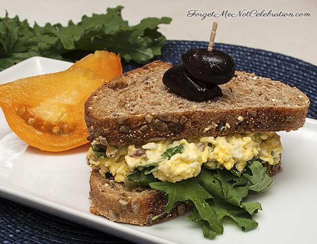 Egg salad with kale sandwich